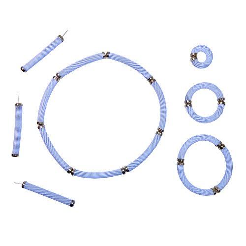 Retro Schmuck weiß 12 Steckfedern Ohrring Ring Armband Halskette ()
