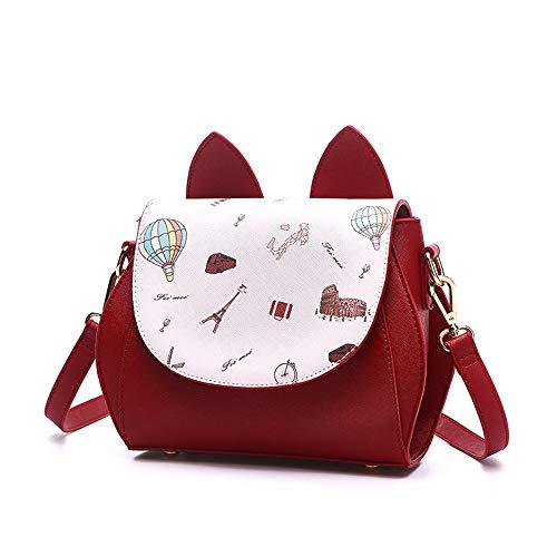 XMY Kleine Tasche Mädchen Mode einzelne Schulter Messenger Bag wild süß, Reis Weißwein Rot