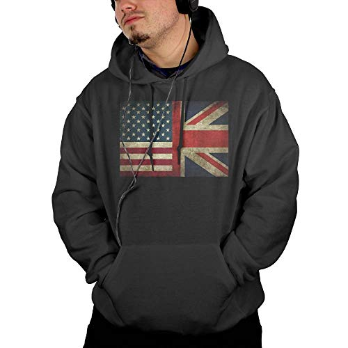 American Flag and British Flag Men's Casual Classic Hooded Sweatshirt with Pocket Black Large
