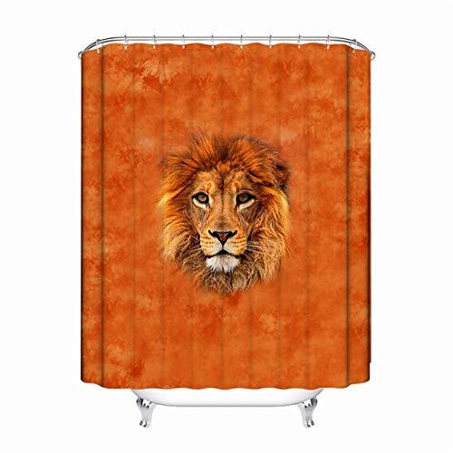 HBBQRS Polyestergewebe Bad Vorhänge 3D Tier Löwen Tiger Print Verdickt Moldproof Wasserdicht Duschvorhang Decor Bad, 5,180x120 cm