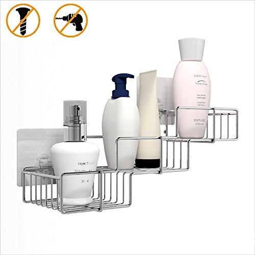 Lonior Shower Caddy Stainless Steel Shower Basket No Drilling Adhesive Shower Caddies Rustproof Shower Storage Shelf 3 Tier Bathroom Basket for Soap, Shampoo, Conditioner (16.2*5.3*4.5 inch)