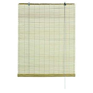 GARDINIA Bambus-Rollo Natur, Decken- oder Wandmontage, Lichtdurchlässig, Blickdicht, Alle Montage-Teile inklusive, 100 x 160 cm (BxH)