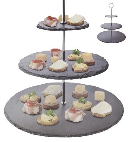 Présentoir à gâteaux en ardoise, Ardoise, 3 étages