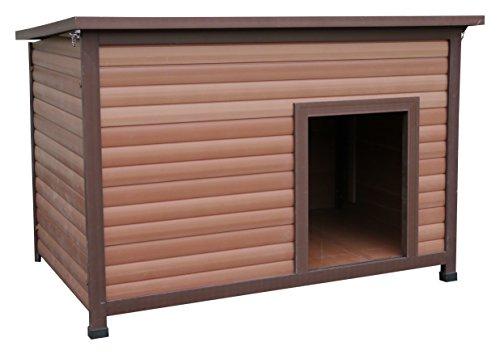 Rosewood 02065 Wetterfeste Flachdach-Hundehütte für kleine Hunde, aus Holz und Kunststoffwerkstoff, mit aufklappbarem Dach