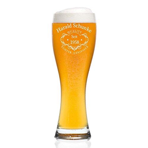 Leonardo Weizenbierglas 0,5l mit Gravur personalisierte Weizenglas Geschenk-Idee - Motiv Quality