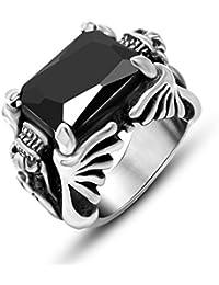 Para hombre acero inoxidable de titanio JewSteel piedra de pared con marco envejecido Zircon anillo de dragón negro