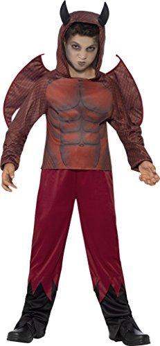Kinder Jungen Deluxe Roter Teufel Halloween Kostüm Größe S groß Passt Alter 10 bis 12 ()