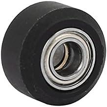Sourcingmap–a16080800ux017415x 5x 9mm rodillo de revestimiento de plástico Tire rueda rodamiento de bolas–negro