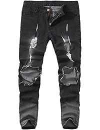 LuckyGirls Pantalones Vaqueros Hombres Rotos Pitillo Originales Slim Fit  Skinny Pantalones Casuales Elasticos Agujero Pantalón Personalidad 829c699c638