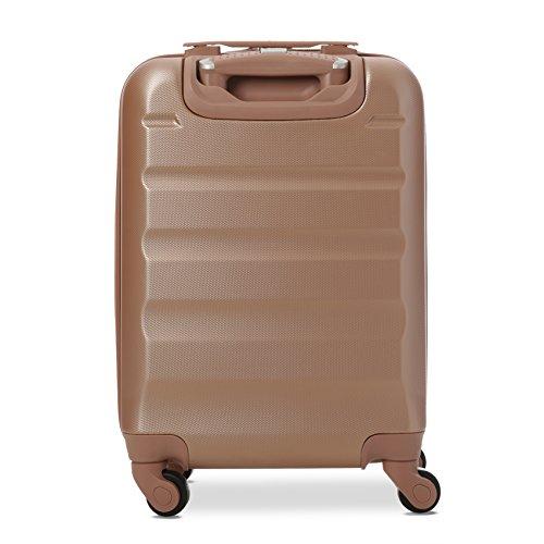 Aerolite Leichtgewicht ABS Hartschale 4 Rollen Handgepäck Trolley Koffer Bordgepäck Kabinentrolley Reisekoffer Gepäck, Genehmigt für Ryanair, easyjet und viele mehr 2 Teilig (Roségold) - 6