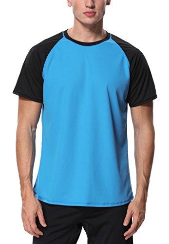 Kurzarm Männer Guard Rash (Attraco Herren Bademode Rashguard UV Schutz Shirts Kurzarm Surf Shirt Badeshirt UPF 50+ Blau 2XL)