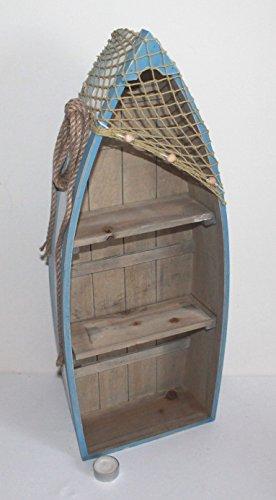 AAF Nommel  Boot Regal 61 x 24 x 9 cm, Kiefernholz, Maritim Dekor im Shabby Look, Nr. 013