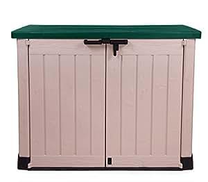 Ondis24 große Lagerbox für draußen Max beige / grün Gartenbox Mülltonnenbox Gerätebox Schuppen Gartenmöbelbox Terassenbox