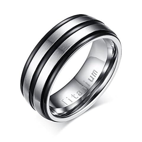 Mens Titanium Promise Engagement Wedding Band Ring,Middle 2 Lines Matte
