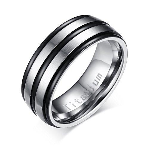 Anello a fascia da uomo, in titanio, per matrimonio e fidanzamento, finitura opaca delle 2fasce centrali, nero e argento, titanio, 19, cod. tr-012bs-9