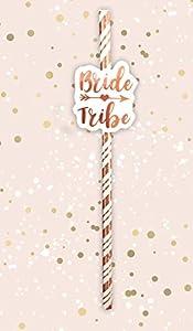 Alandra Party Bride Tribe pajitas Crema y Oro Rosa metálico, Talla única