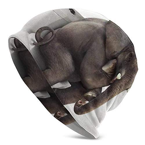 NA Unisex Beanie Caps Lustiger indischer Elefant sitzend auf Toilette Schlauch-Manschette Totenkopf Strick Mütze Winter Sommer Warm Skimütze Snapback schwarz
