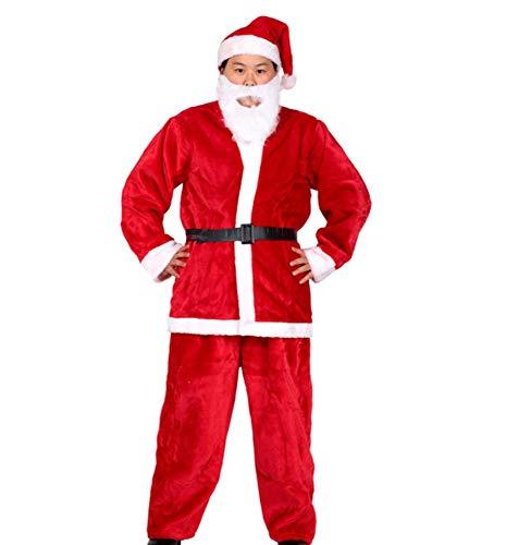 YC DOLL Santa Suit Kids Weihnachts-Halloween-Kostüm Cosplay-Set Von, Dicken Plüsch-Stoff Weihnachts Kleidung Satz Von 5, Hut + Kleidung + Hosen + Gürtel + Bart, Erwachsene, Rot