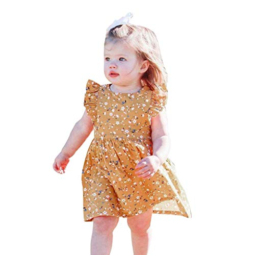 Beikoard Kleinkind Kleidung Kinder Ärmelloses Kleid mit Blumendruck +Stirnband Sets Newborn Kleidung Sommerkleid 0-4 Jahre (Kleinkind Mädchen Spielen Kleidung)
