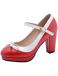 UH Mujer Mary Jane t Strap Zapatos de Tacón Alto con Plataforma Charol Tira al  Tobillo con Hebilla Calzado con… 71fd94da5d7d