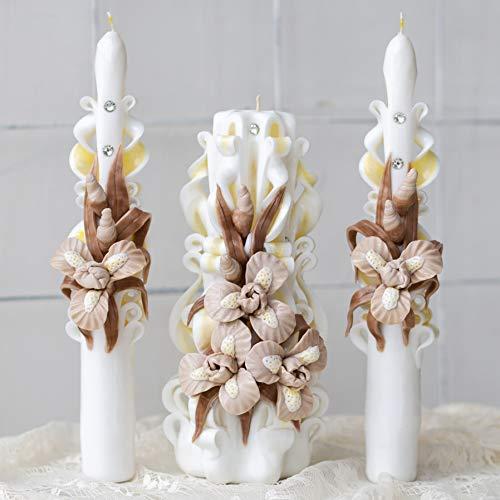 te Kerze für Elfenbeineinheitskerze für Hochzeitszeremonie in der Kirche - handgemachte Luxuskerzen für Haus und Geschenk ()