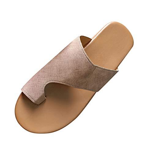 COZOCO Frauen Retro Mode Wohnungen Keile Flip Flops Peep Toe Schuhe Damen Hausschuhe Strand Römische Sandalen(B-Brown,37 EU)