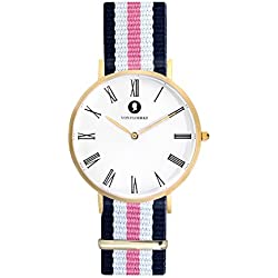 Handcrafted Matt gold Men's and Women's Analogue Wristwatch Fashionable Chronograph with Easily Changeable NATO Wristband - gold, blue white pink - with a 1.8 cm Wide Nylon Strap by VON FLOERKE
