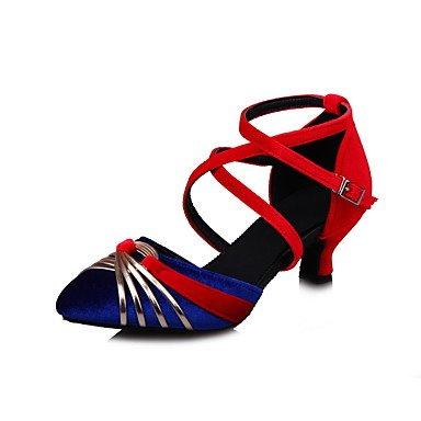 Silence @ Chaussures de danse pour femme en satin moderne latine satiné Sandales Talon Chunky Practise Noir Bleu vert Gris noir