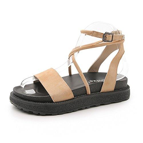 Sandale Essenz (SHOESDQ Flache Ledersandalen mit römischem Riemen Comfort Summer rutschfeste Damensandalen Gemütlich (Color : Apricot, Size : 37))