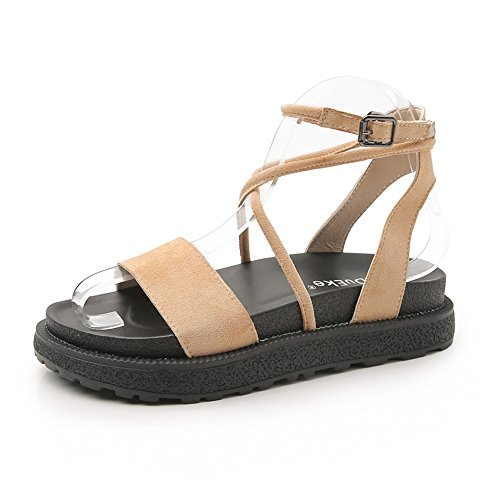 SHOESDQ Flache Ledersandalen mit römischem Riemen Comfort Summer rutschfeste Damensandalen Gemütlich (Color : Apricot, Size : 37) -