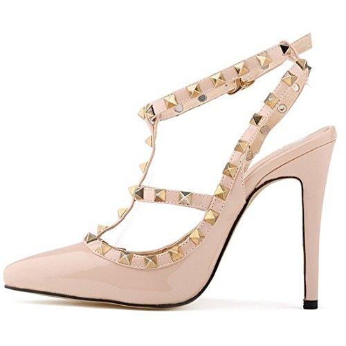 Oasap Damen T-spang Stiletto High Heels Sandalen Pumps mit Nieten, Apricot EURO38/US7/UK5