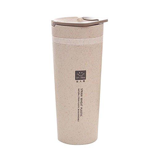 Wasser-Flasche 300ML, Aolvo-Doppelschicht-tragbares umweltfreundliches Weizen-Stroh trägt Tee-Becher-Schalen mit Rotations-Deckel für Reise im Freien