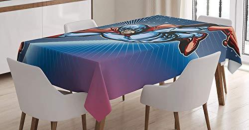 Yeuss Superheld Tischdecke, Brave Maskiert Hero Flying on Galaxy Mission Schutz The Universe Bild, Esszimmer Küche Tisch, rechteckig, violett blau rot, 60