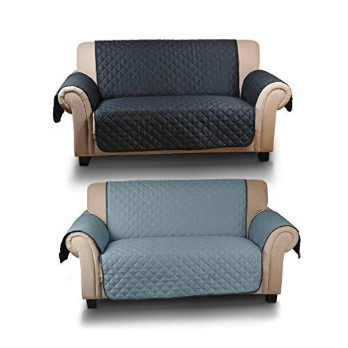 Kinlo copridivano 2 posti impermeabile divano protector mobili coperture su due lati per cani / gatti letto con divano slipcovers 167 * 112cm (blu scuro / azzurro)