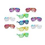 10 x Partybrille mit LED, Atzenbrille für Karneval und Fasching, Gitterbrille für Kinder, Blinkend mit Farbwechsel
