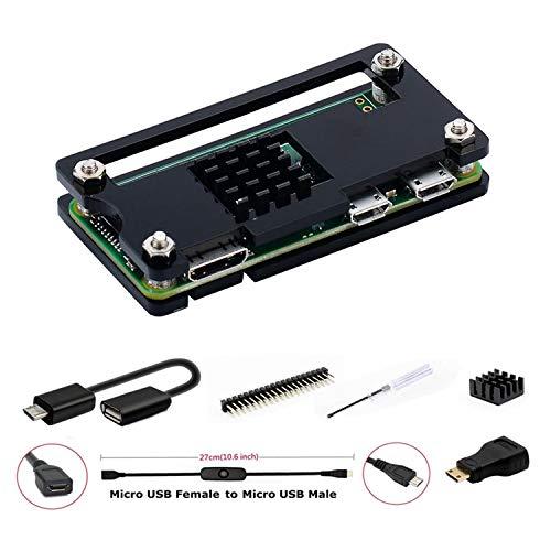 GeeekPi für Raspberry Pi Zero/Zero Gehäuse, 7 in 1 Basic Starter Kit mit Acryl Pi Zero Gehäuse, 20-poliger GPIO-Header, OTG Kabel, Switch Kabel, HDMI Adapter, Kühlkörper und Schraubendreher (Schwarz)