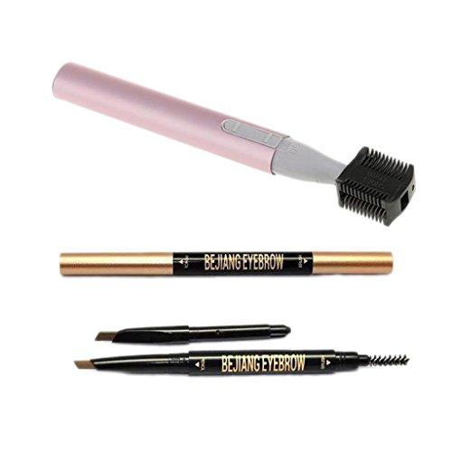 Sharplace Crayon Brosse à Sourcil Automatique avec Recharge + Electrique Tondeuse Rasoir pour Sourcils Outil de Beauté Femme