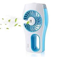 Mopalwin Mini USB Fan, Portable Humidifier Mist fan Face Spray handheld Air Condictioning Moisturizing Fan Powered by Battery (Blue white)