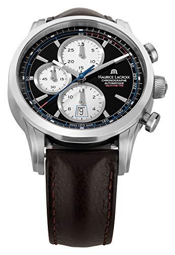 Maurice Lacroix Pontos Chrono-Reloj automático para hombre, acero inoxidable, color negro