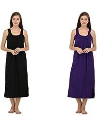 Ishita Fashions Cotton Gown Slip - Cotton Nighty - 2 PCs - Black and Violet