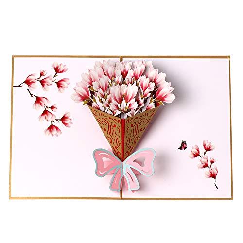 Biglietto di auguri pop-up 3d con bouquet di fiori, biglietto di ringraziamento, apprezzo, festa della mamma, biglietto di anniversario, biglietto di natale