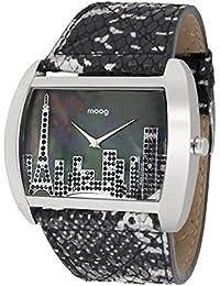 Moog Paris Skyline Reloj para Mujer con Esfera Nácar Negra, Correa Negra y Plateada de Piel Genuina y Cristales…