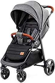 Kinderkraft Barnvagn GRANDE, Sittvagn, Liggdel, Sportbarnvagn, Fällbar sufflett, Hopfällning och liggläge, Fjä