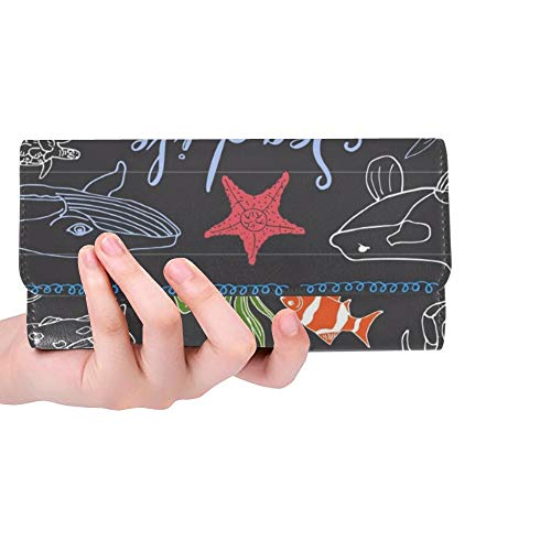 Einzigartige benutzerdefinierte Big Sea Life Tiere handgezeichnete Frauen Trifold Wallet Lange Geldbörse Kreditkarteninhaber Fall Handtasche (Essen Mann Haifisch)