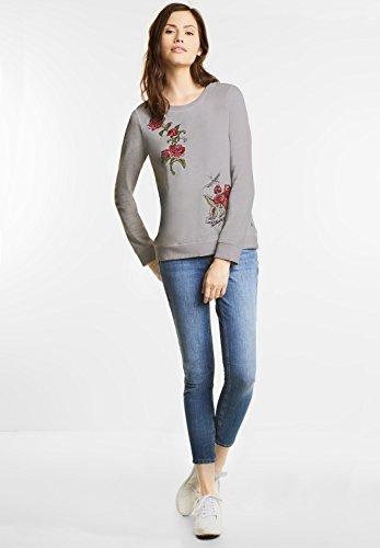 Street One Damen Sweatshirt mit Rosen lunar grey (grau)
