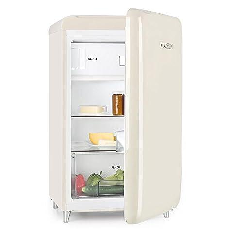 Klarstein PopArt Cream • Kühlschrank • Standkühlschrank • Retro Look der 50er • 108 Liter Volumen • 13 Liter Gefrierfach • Blitzkühl-Funktion • Gemüsefach • 2 x Regal • Flaschenfach • Eierablage • Türanschlag rechts • creme