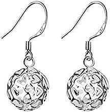 Pendientes - SODIAL(R)pendientes de plata de bola hueco de patron de nuevo corazon