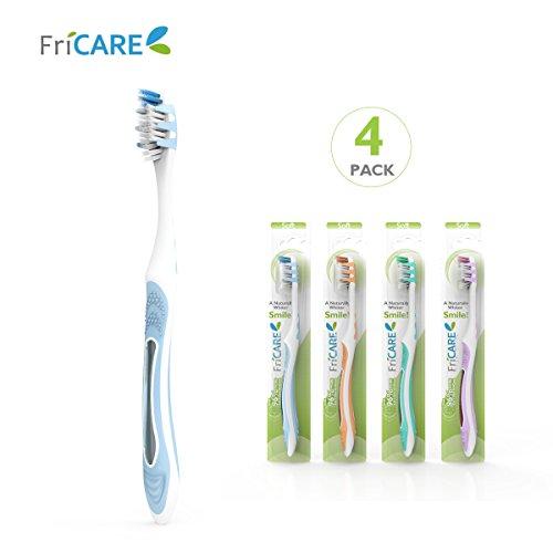 FriCARE Voller Kopf Erwachsene Größe Manuelle Zahnbürste mit Zähnen-bleichenden Weichen Borsten, verschiedene Farben für Haus und Reisen (4) (Farben Weiche)