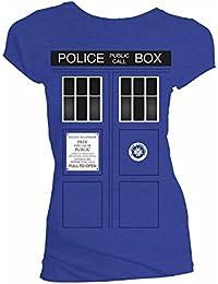 Doctor Who Tardis Doors Black Windows Juniors Shirt S