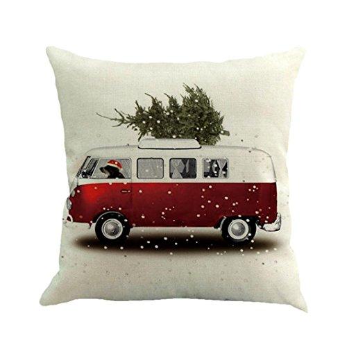 Weihnachten Kopfkissen, ubabamama Baumwolle Leinen Sofa Auto Home Taille Kissenhülle Werfen Kissen Fall (E) (Schneemann-kissen Zustand)